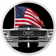 66 Mustang With U.s. Flag On Black Round Beach Towel