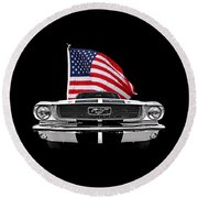 66 Mustang With U.s. Flag On Black Round Beach Towel by Gill Billington