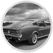 67 Fastback Mustang In Black And White Round Beach Towel