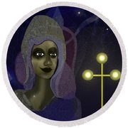 Round Beach Towel featuring the digital art 673 - Young Lady With Cross by Irmgard Schoendorf Welch