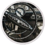 Round Beach Towel featuring the photograph 68 Ford Mustang by Trey Foerster