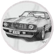69 Camaro Round Beach Towel