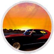 69 Camaro Up At Rocky Ridge For Sunset Round Beach Towel