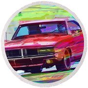69 Dodge Charger  Round Beach Towel