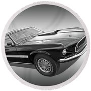 69 Mach1 In Black And White Round Beach Towel