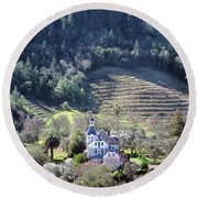 6b6312 Falcon Crest Winery Grounds Round Beach Towel