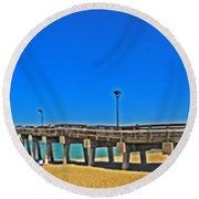 6x1 Venice Florida Beach Pier Round Beach Towel