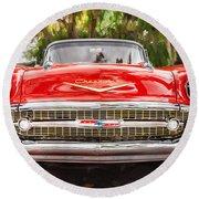 1957 Chevrolet Bel Air 283 Painted  Round Beach Towel