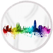 Barcelona Spain Skyline Round Beach Towel