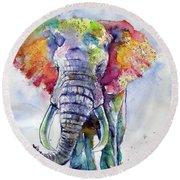 Colorful Elephant Round Beach Towel