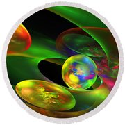 Computer Generated Planet Sphere Abstract Fractal Flame Modern Art Round Beach Towel by Keith Webber Jr