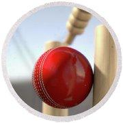 Cricket Ball Hitting Wickets Round Beach Towel by Allan Swart