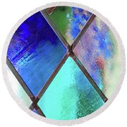 Diamond Pane Blue Round Beach Towel