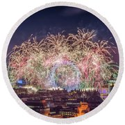 Happy New Year London Round Beach Towel