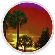 Round Beach Towel featuring the digital art 7- Holiday by Joseph Keane