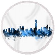 Hong Kong Skyline Round Beach Towel by Michael Tompsett