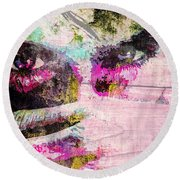 Round Beach Towel featuring the mixed media Ian Somerhalder by Svelby Art