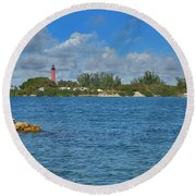 7- Jupiter Lighthouse Round Beach Towel by Joseph Keane