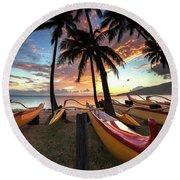 Kihei Canoes Round Beach Towel by James Roemmling