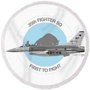 Round Beach Towel featuring the digital art Lockheed Martin F-16c Viper by Arthur Eggers