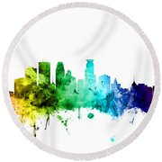 Minneapolis Minnesota Skyline Round Beach Towel