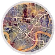 New Orleans Street Map Round Beach Towel