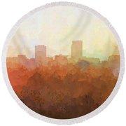 Round Beach Towel featuring the digital art Omaha Nebraska Skyline by Marlene Watson
