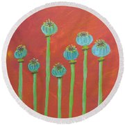 7 Poppy Seed Pods Round Beach Towel