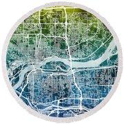 Quad Cities Street Map Round Beach Towel