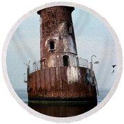 Sharps Island Lighthouse Round Beach Towel