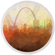 Round Beach Towel featuring the digital art St Louis Missouri Skyline by Marlene Watson