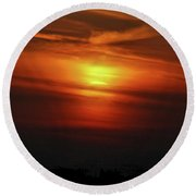 Round Beach Towel featuring the photograph 7- Sunset by Joseph Keane
