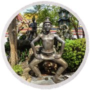 Thai Yoga Statue At Famous Wat Pho Temple Round Beach Towel