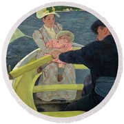 The Boating Party Round Beach Towel