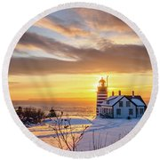 Round Beach Towel featuring the photograph West Quoddy Head Lighthouse by Trace Kittrell