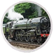 70013 Oliver Cromwell At Leicester Round Beach Towel
