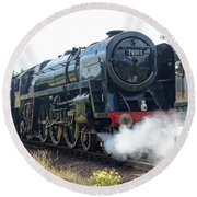70013 Oliver Cromwell At Loughborough Round Beach Towel