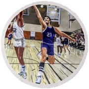 Round Beach Towel featuring the painting 70's Layup by Kevin Daly