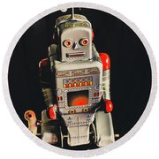 70s Mechanical Android Bot  Round Beach Towel