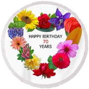 70th Birthday Round Beach Towel