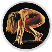 7188s-amg Nude Watercolor Of Sensual Mature Woman Round Beach Towel by Chris Maher