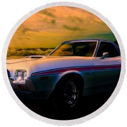 72 Ford Ranchero By The Sea Round Beach Towel