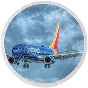 Round Beach Towel featuring the photograph 737 by Guy Whiteley
