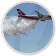 747 Supertanker Drop Round Beach Towel by Bill Gabbert