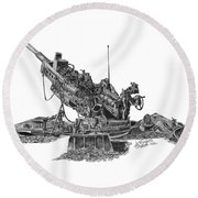 Round Beach Towel featuring the drawing 777 by Betsy Hackett