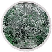 7a Abstract Floral Expressionism Digital Art Round Beach Towel