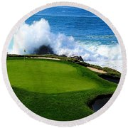 7th Hole - Pebble Beach  Round Beach Towel
