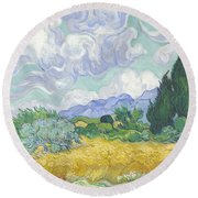 A Wheat Field With Cypresses Round Beach Towel