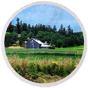 Barns In Pacific Northwest Round Beach Towel