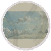 British Title Cloud Study Round Beach Towel